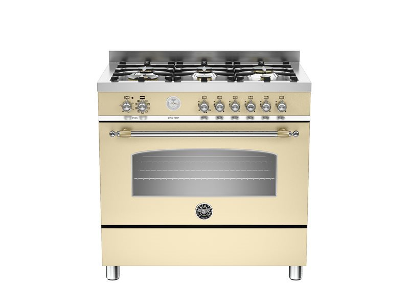 90 cm 6-Burner, Electric Oven | Bertazzoni - Crema Matt